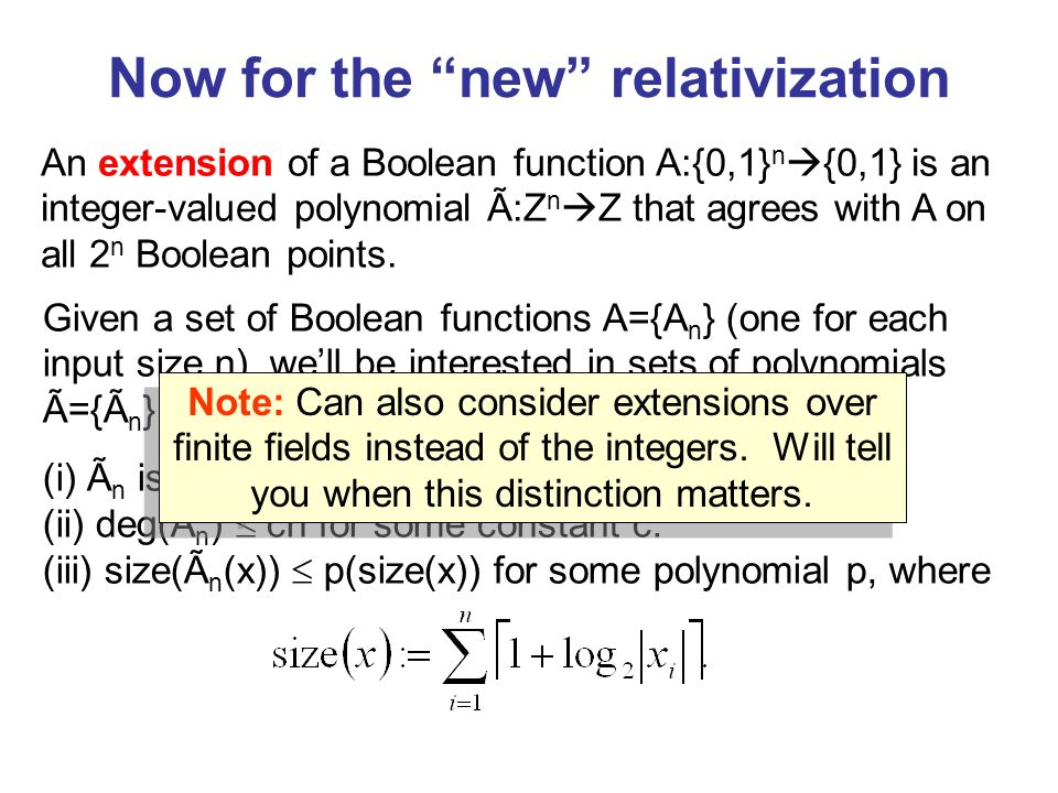 Now for the new relativization