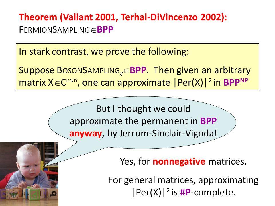 Theorem (Valiant 2001, Terhal-DiVincenzo 2002): FermionSamplingBPP