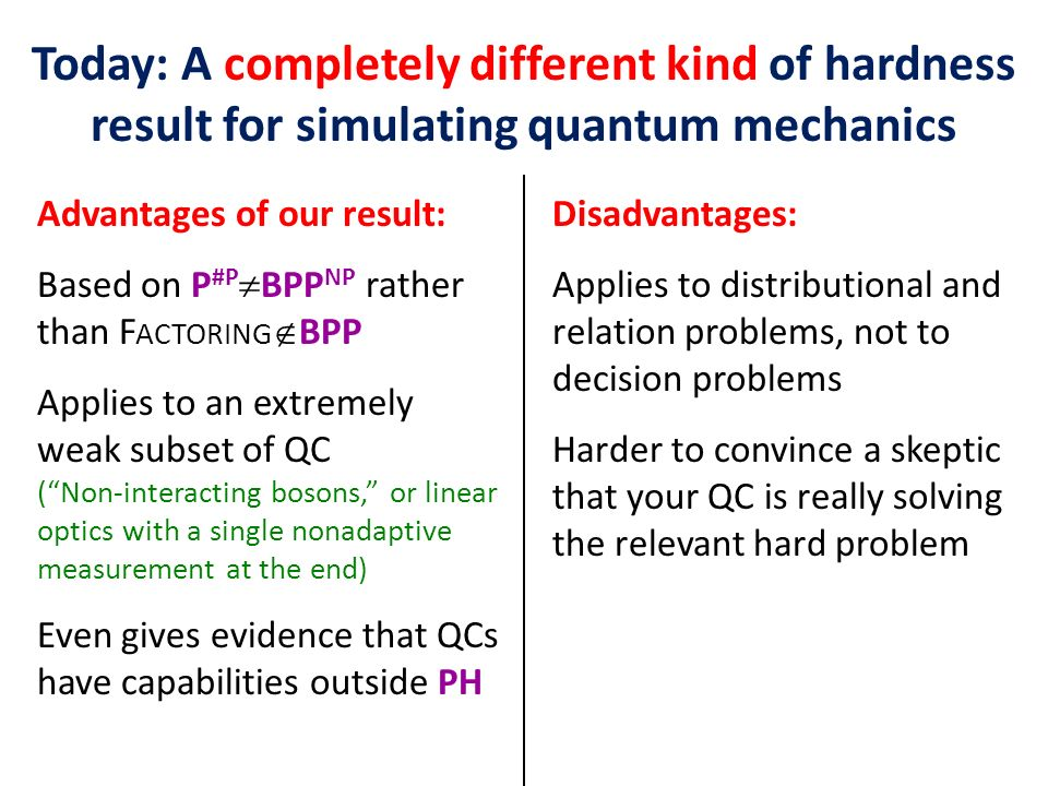Today: A completely different kind of hardness result for simulating quantum mechanics