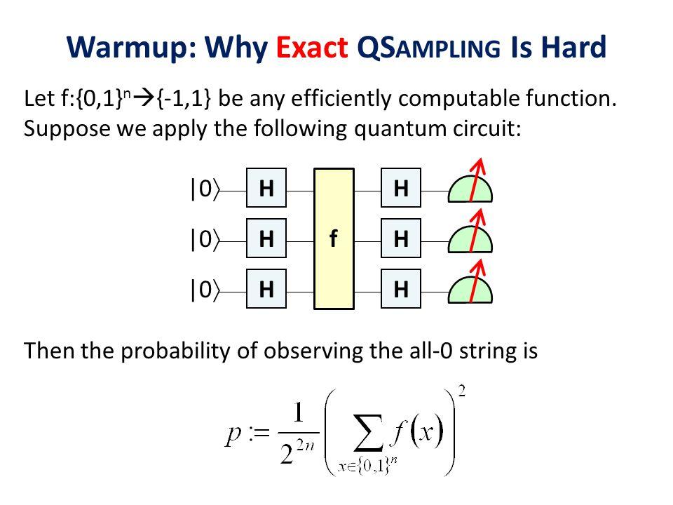 Warmup: Why Exact QSampling Is Hard