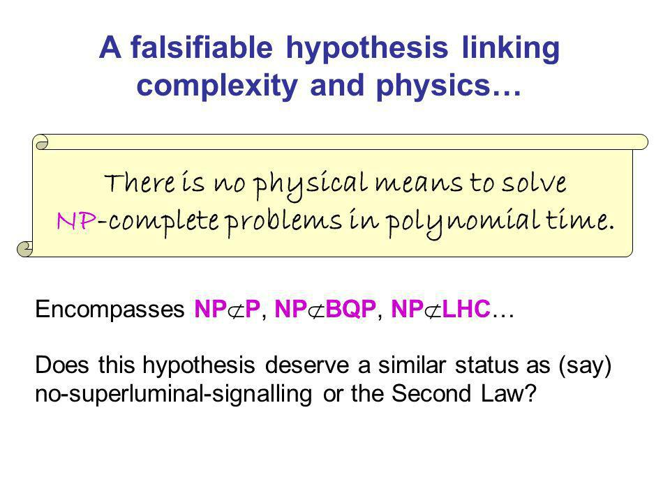 A falsifiable hypothesis linking complexity and physics…