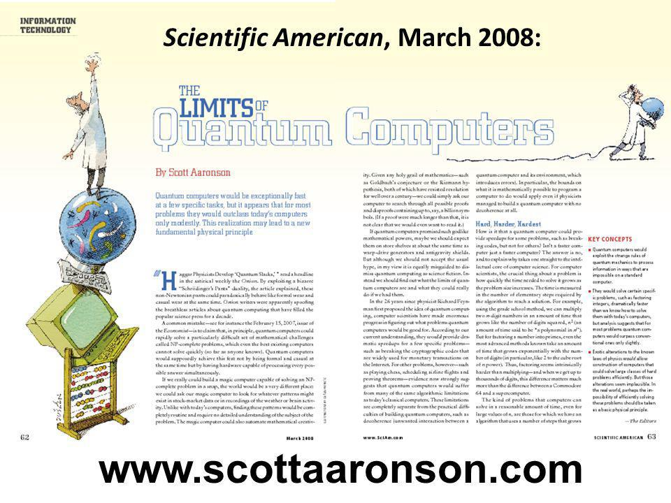Scientific American, March 2008: