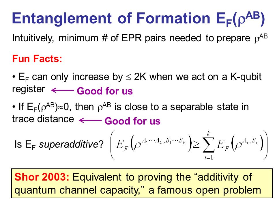 Entanglement of Formation EF(AB)