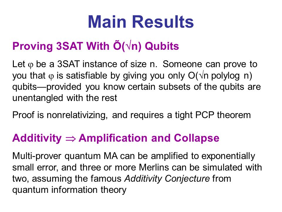 Main Results Proving 3SAT With Õ(n) Qubits