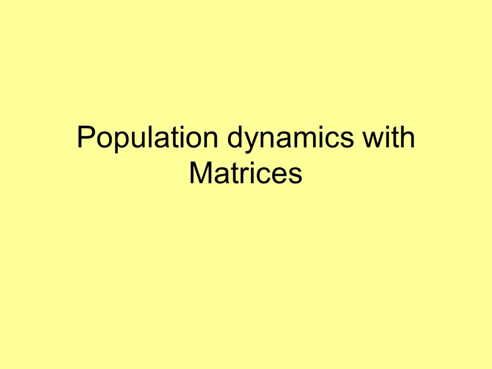 Population dynamics with Matrices
