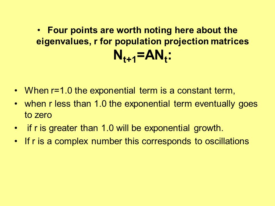 Four points are worth noting here about the eigenvalues, r for population projection matrices Nt+1=ANt: