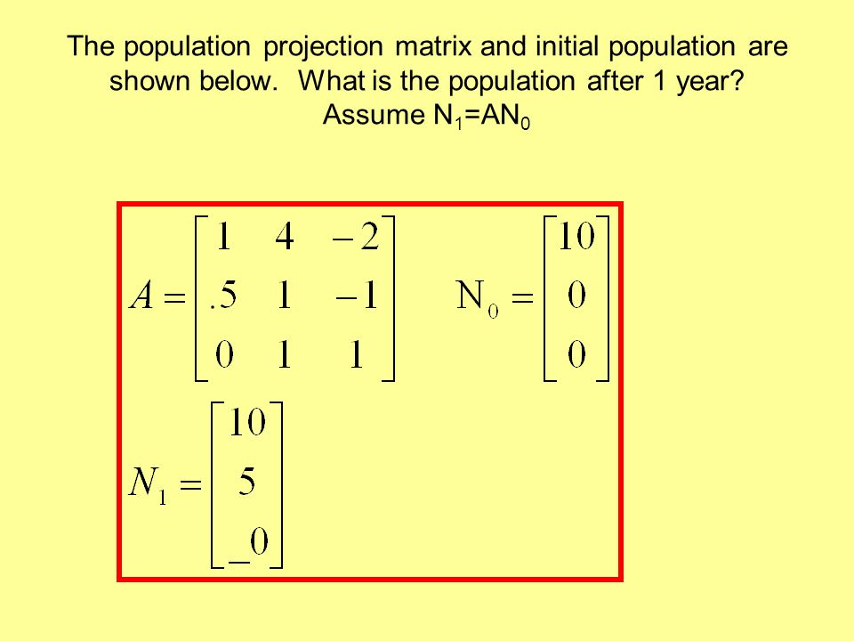 The population projection matrix and initial population are shown below.