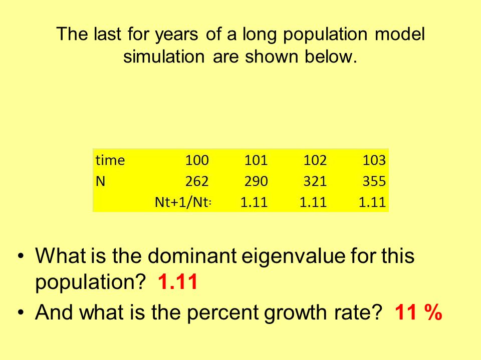 What is the dominant eigenvalue for this population 1.11