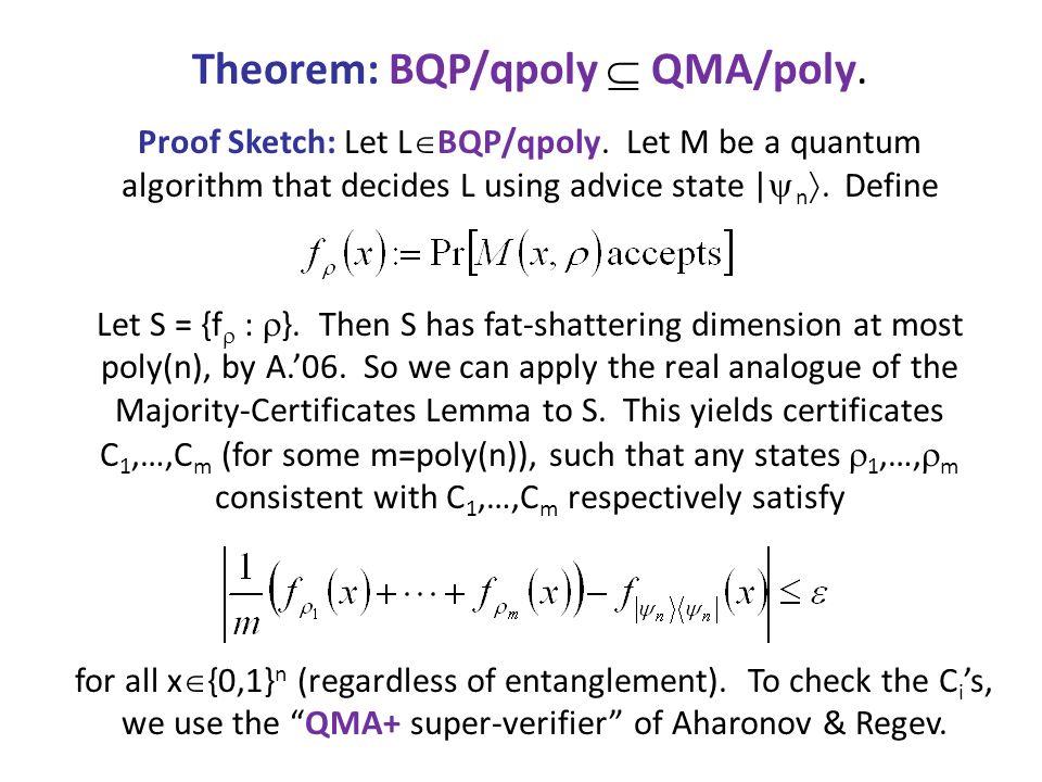 Theorem: BQP/qpoly  QMA/poly.