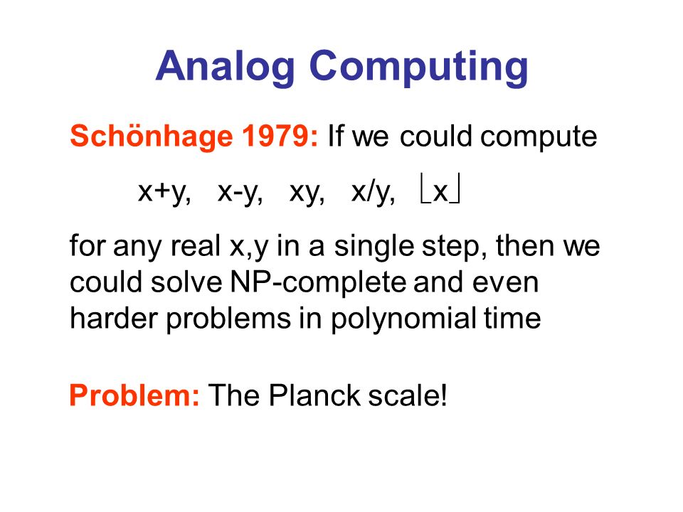 Analog Computing Schönhage 1979: If we could compute