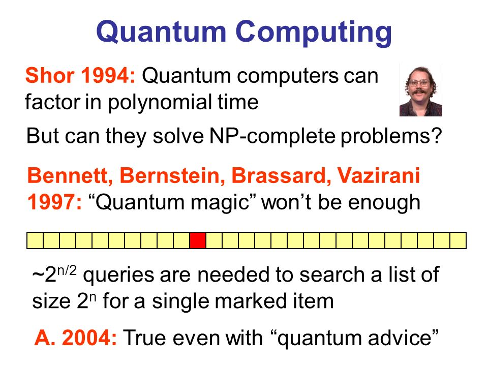 Quantum Computing Shor 1994: Quantum computers can factor in polynomial time. But can they solve NP-complete problems