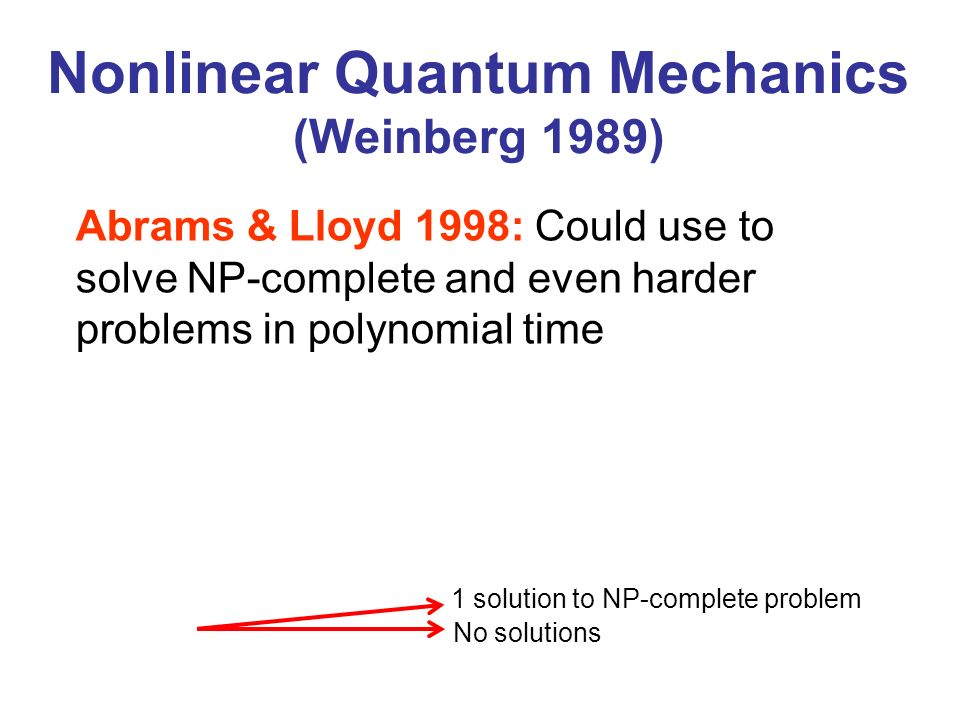 Nonlinear Quantum Mechanics (Weinberg 1989)