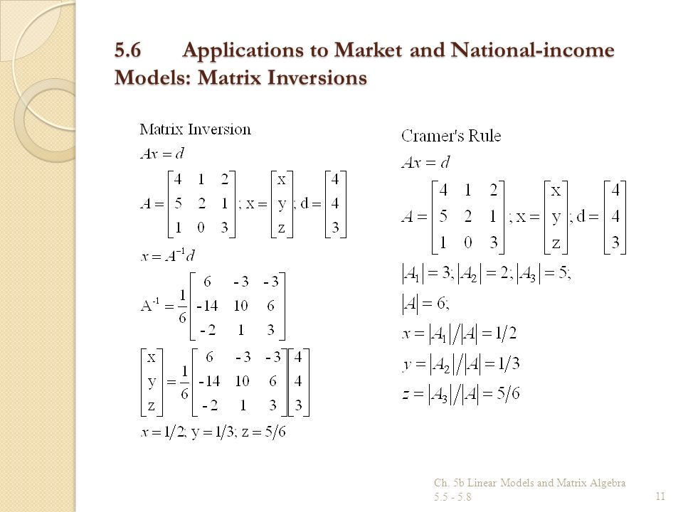 5.6 Applications to Market and National-income Models: Matrix Inversions