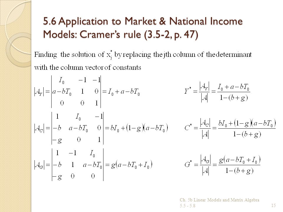 5. 6 Application to Market & National Income Models: Cramer's rule (3