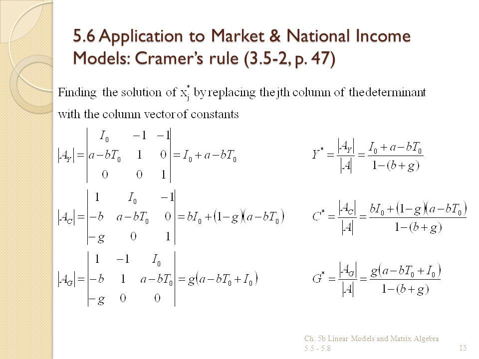 5. 6 Application to Market & National Income Models: Cramer's rule (3