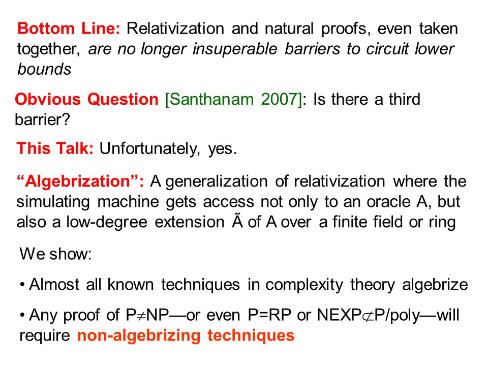 Bottom Line: Relativization and natural proofs, even taken together, are no longer insuperable barriers to circuit lower bounds