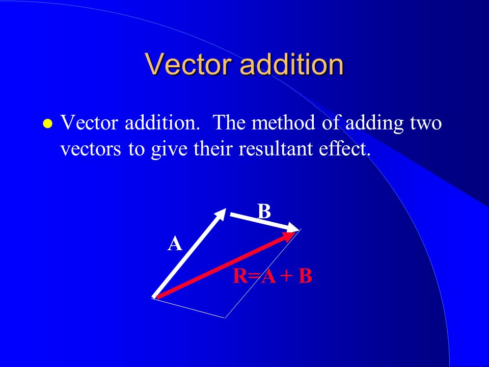 Vector addition Vector addition. The method of adding two vectors to give their resultant effect. B.