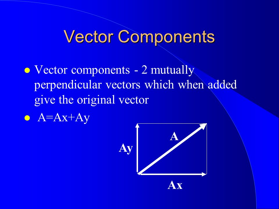 Vector Components Vector components - 2 mutually perpendicular vectors which when added give the original vector.