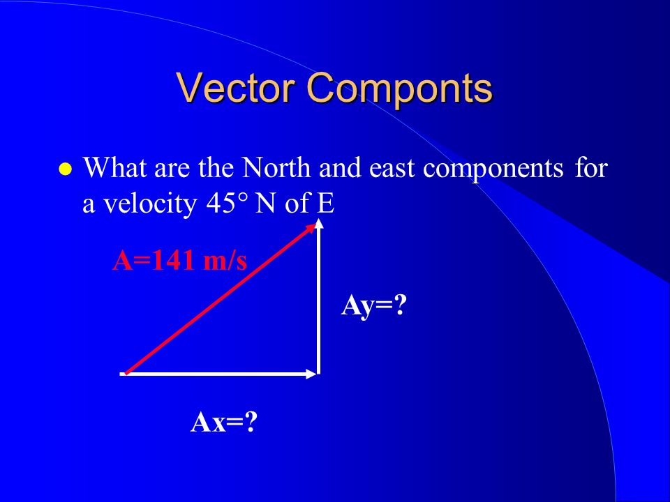 Vector Componts What are the North and east components for a velocity 45° N of E. A=141 m/s. Ay=