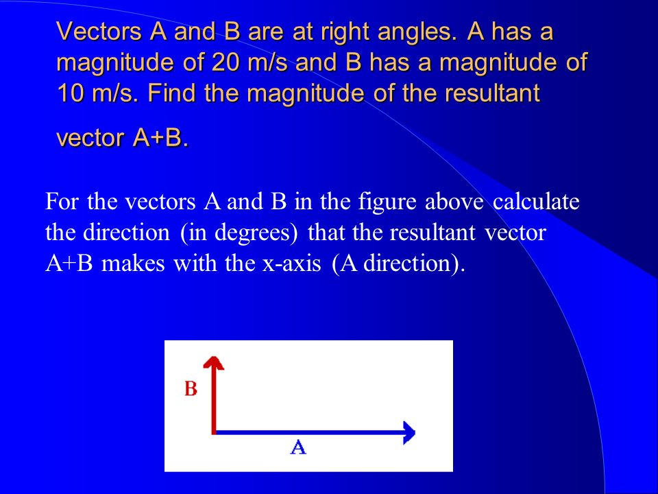 Vectors A and B are at right angles