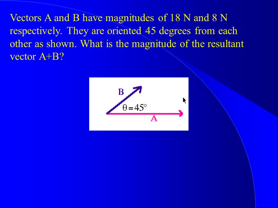 Vectors A and B have magnitudes of 18 N and 8 N respectively
