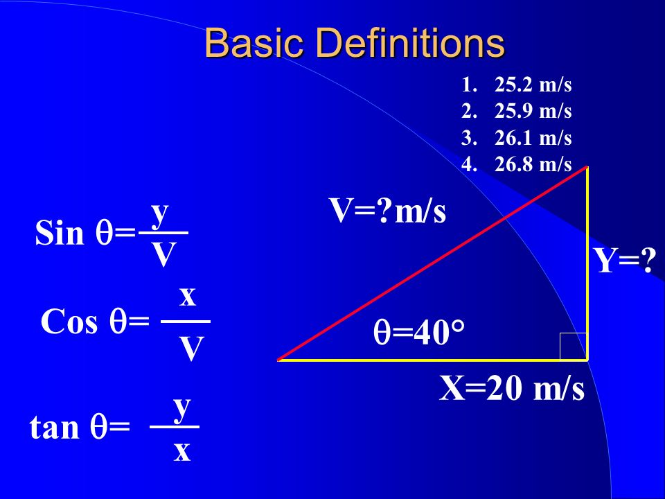 Basic Definitions y V= m/s Sin q= V Y= x Cos q= q=40° V X=20 m/s y