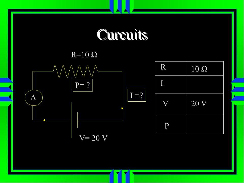 Curcuits R=10 Ω R 10 Ω I P= I = A V 20 V P V= 20 V