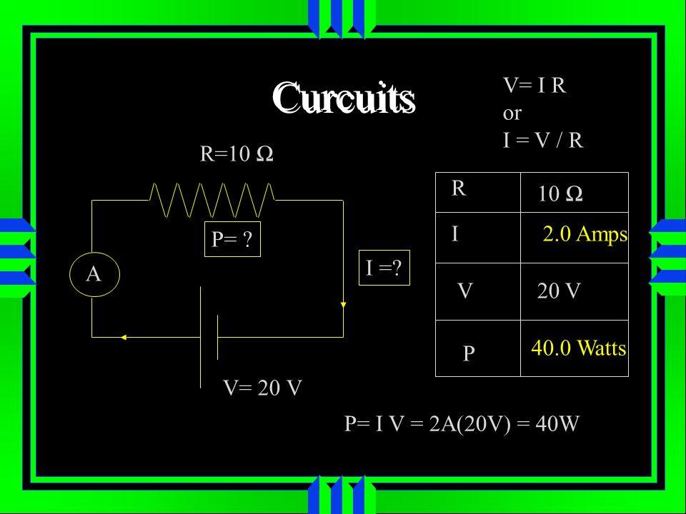 Curcuits V= I R or I = V / R R=10 Ω R 10 Ω I 2.0 Amps P= I = A V