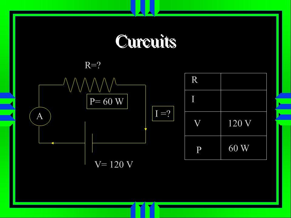 Curcuits R= R I P= 60 W I = A V 120 V P 60 W V= 120 V