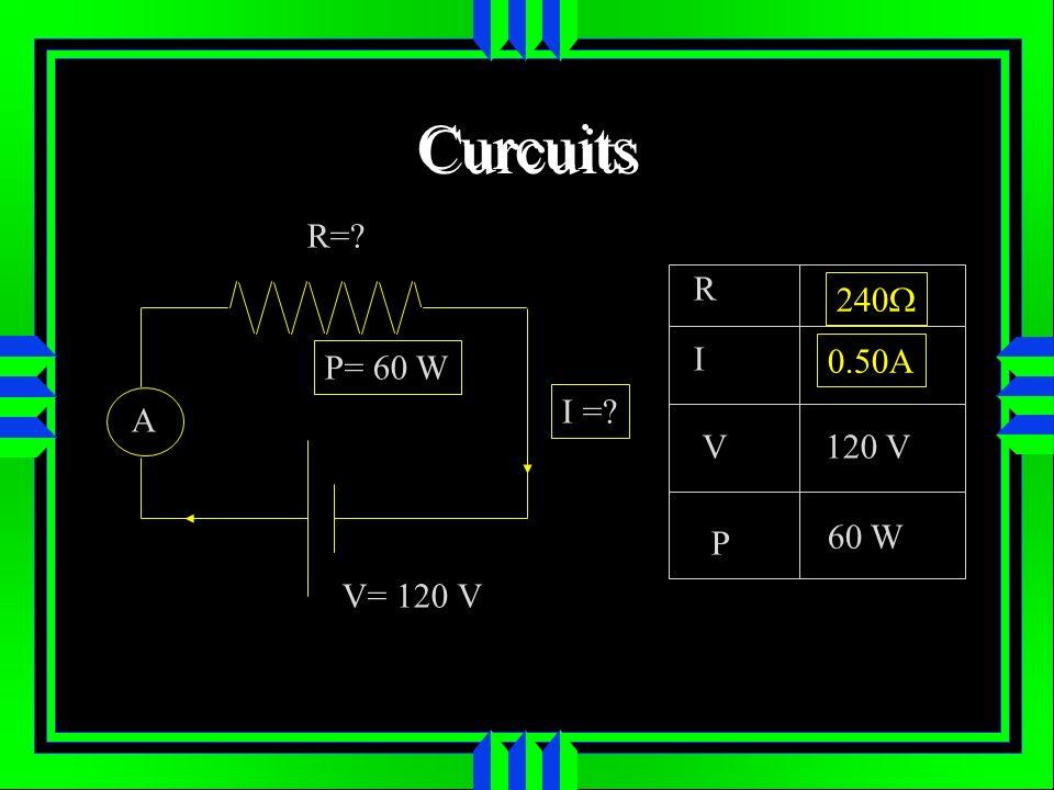 Curcuits R= R 240W I P= 60 W 0.50A I = A V 120 V P 60 W V= 120 V