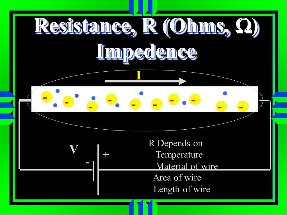Resistance, R (Ohms, Ω) Impedence