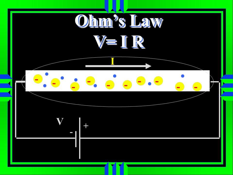 Ohm's Law V= I R I - - - - - - - - - - V + -