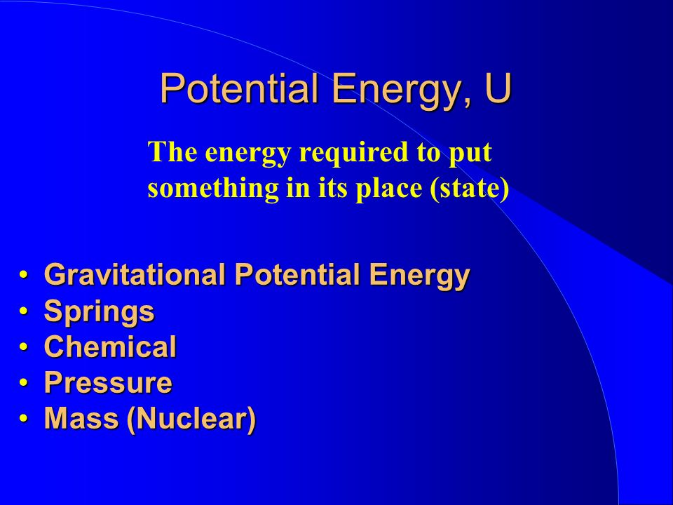Potential Energy, U The energy required to put