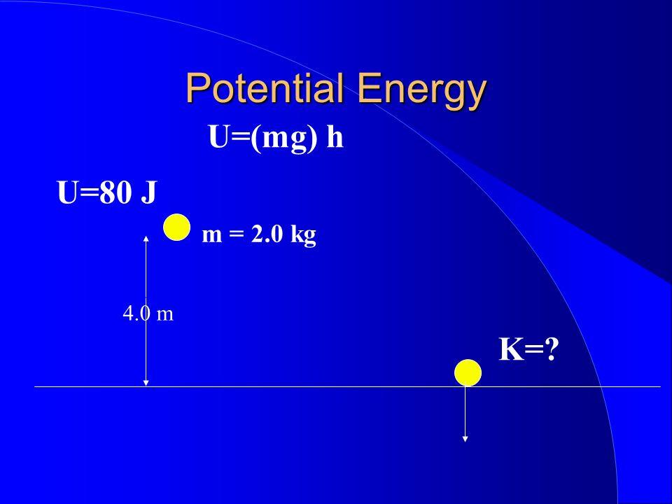 Potential Energy U=(mg) h U=80 J m = 2.0 kg 4.0 m K=