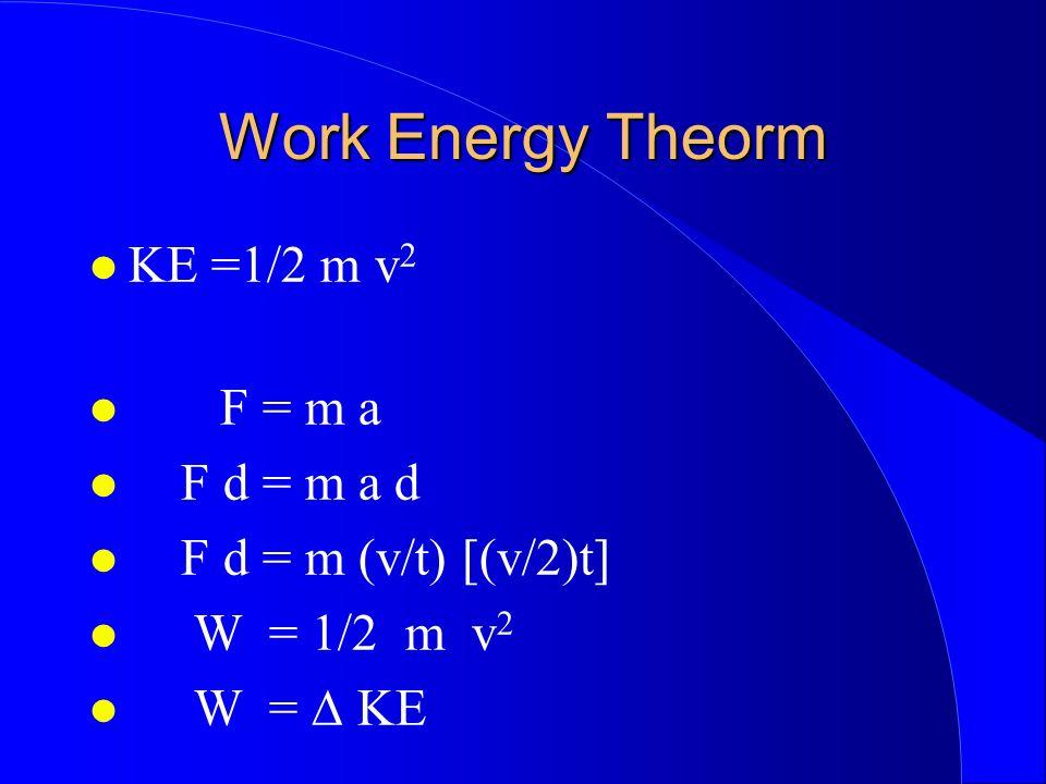 Work Energy Theorm KE =1/2 m v2 F = m a F d = m a d