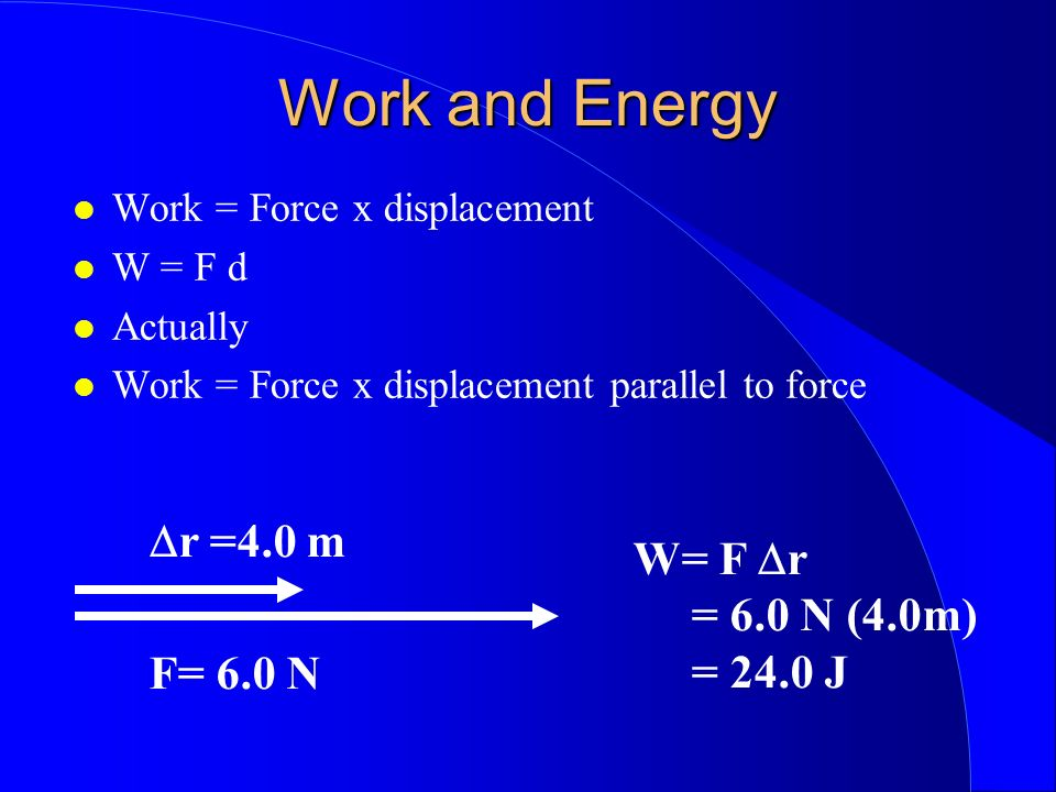 Work and Energy Dr =4.0 m W= F Dr = 6.0 N (4.0m) = 24.0 J F= 6.0 N
