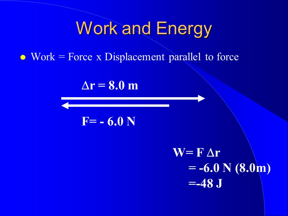 Work and Energy Dr = 8.0 m F= - 6.0 N W= F Dr = -6.0 N (8.0m) =-48 J
