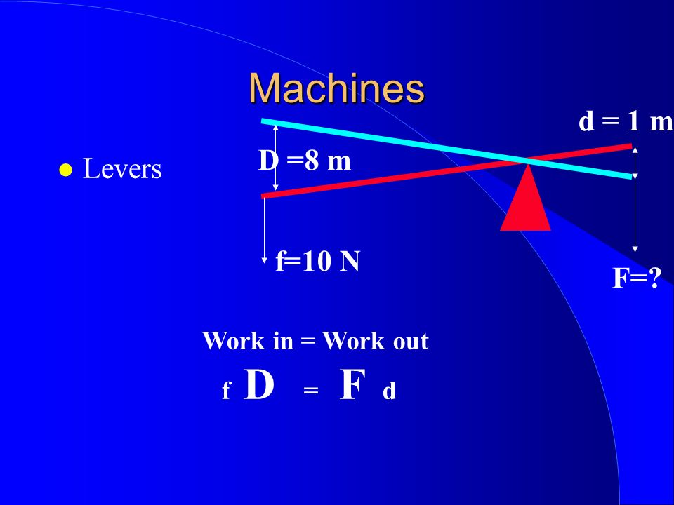 Machines d = 1 m D =8 m Levers f=10 N F= Work in = Work out f D = F d