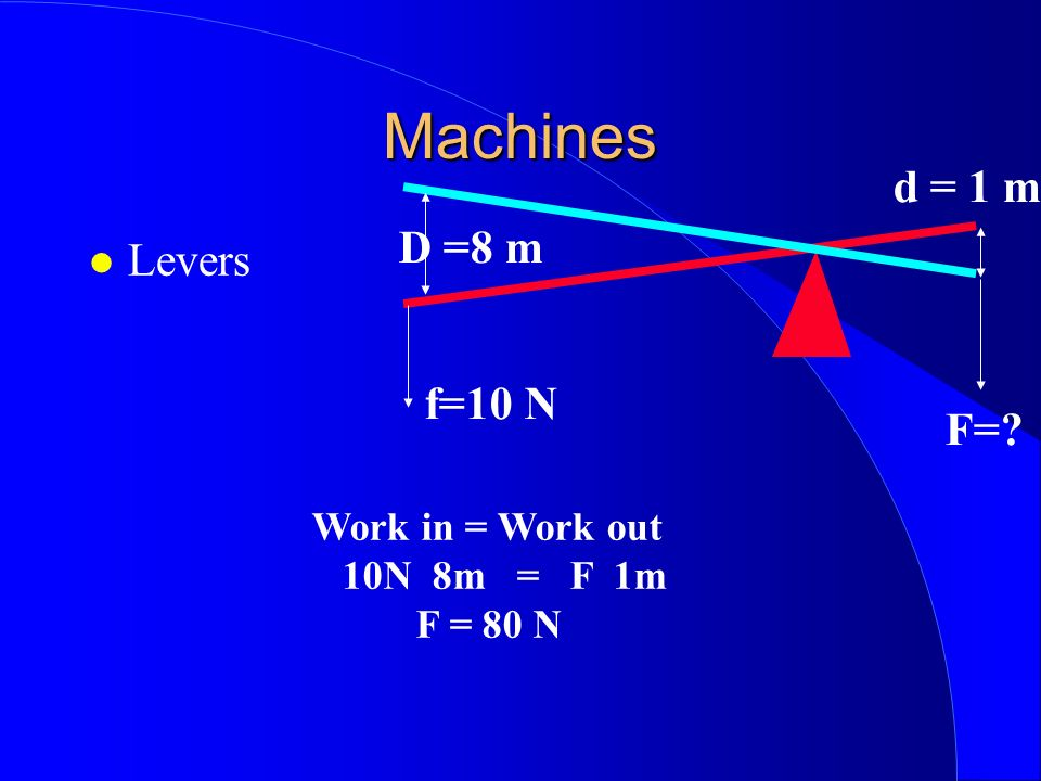 Machines d = 1 m D =8 m Levers f=10 N F= Work in = Work out