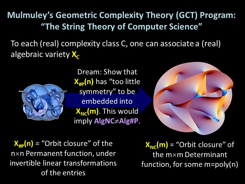 Mulmuley's Geometric Complexity Theory (GCT) Program: The String Theory of Computer Science