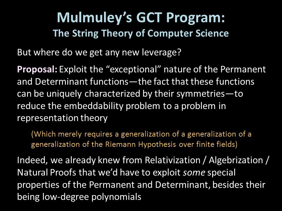 Mulmuley's GCT Program: The String Theory of Computer Science