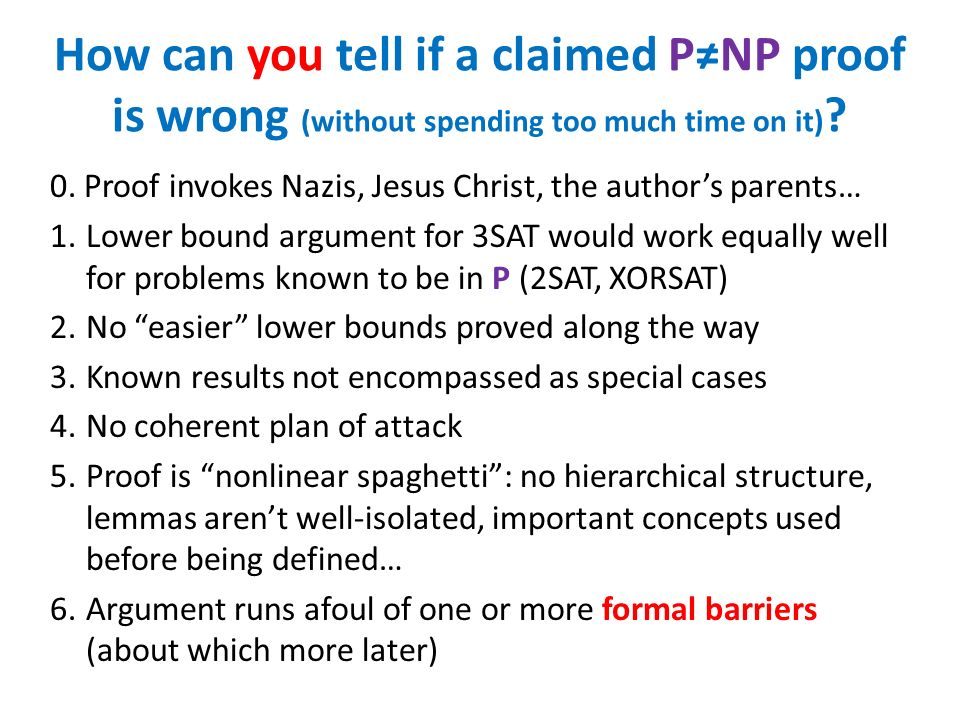 How can you tell if a claimed P≠NP proof is wrong (without spending too much time on it)