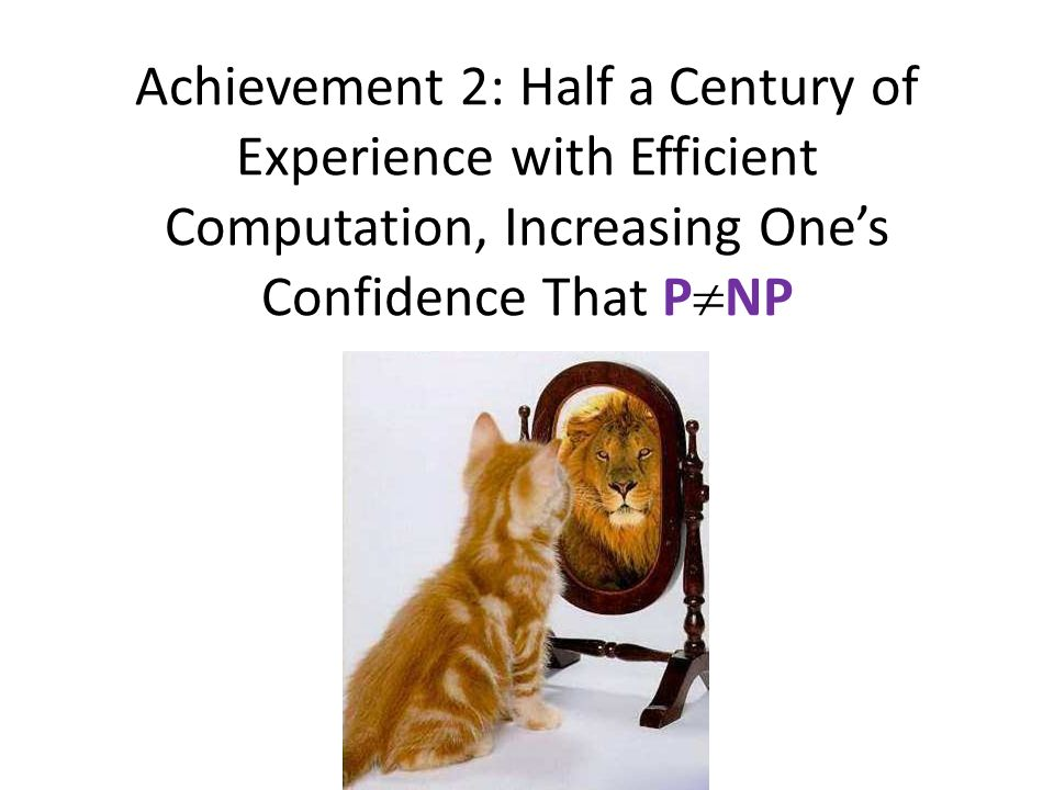 Achievement 2: Half a Century of Experience with Efficient Computation, Increasing One's Confidence That PNP