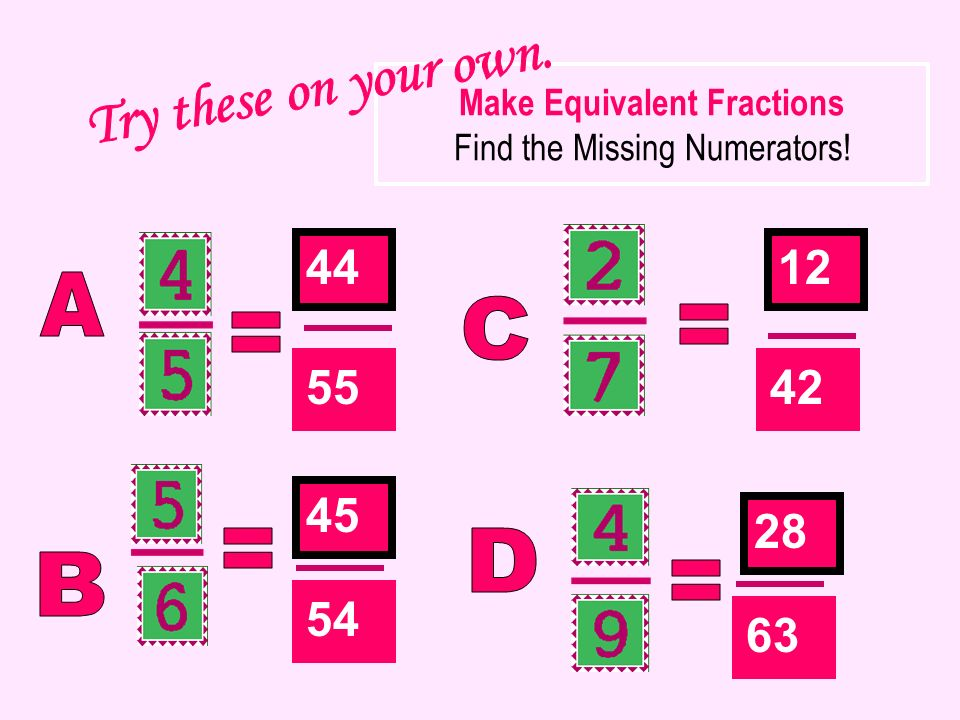 Make Equivalent Fractions Find the Missing Numerators!