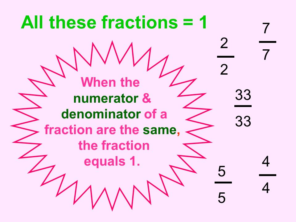 All these fractions = 1 7 2 33 4 5 When the numerator &