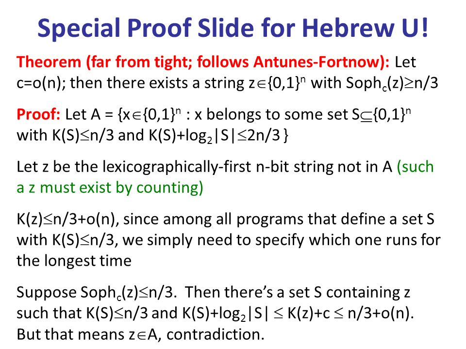 Special Proof Slide for Hebrew U!