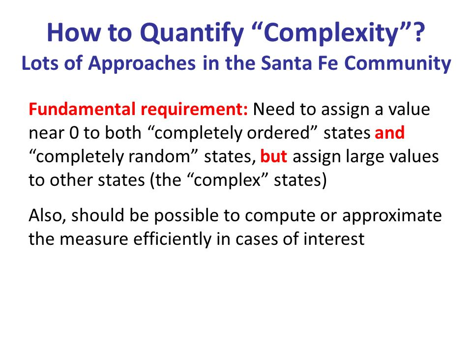 How to Quantify Complexity