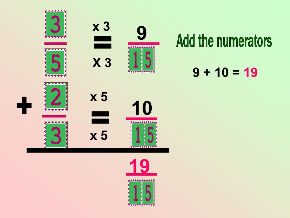 x 3 9 Add the numerators = X 3 9 + 10 = 19 x 5 10 + = x 5 19