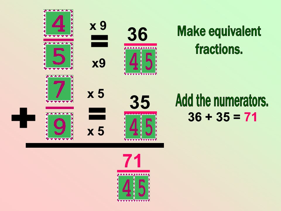 x 9 36. Make equivalent. fractions. Make equivalent. fractions. = x9. x 5. 35. Add the numerators.