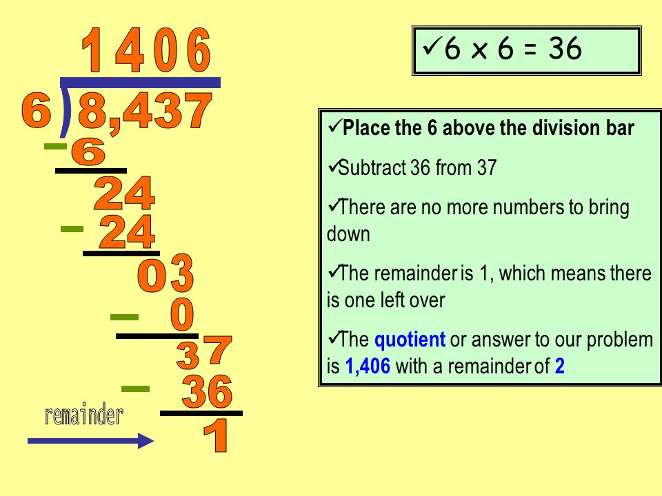 1 4. 6. 6 x 6 = 36. ) 6. 8,437. Place the 6 above the division bar. Subtract 36 from 37. There are no more numbers to bring down.